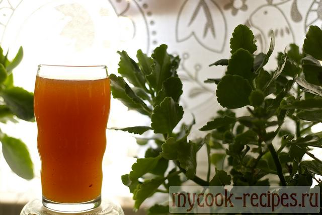 Ready classical kvass in a glass against greens