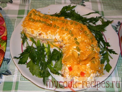Рецепт салата с чипсами слоями